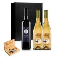 Estuche de madera con accesorios vino + 1 botella de Kirios de Adrada noche y 2 botellas de Ácrata Albillo Blanco